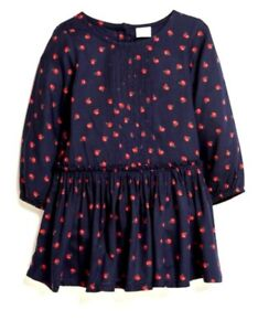 Next Girls Dress 5-6 years NAVY RED dress long sleeved cotton print top