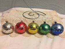 5 Christmas Ornaments Hand Painted Glass Balls Made in Columbia Unique