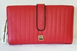 NWT KATE LANDRY RED QUILT Checkbook CREDIT Card RFID Security Lining WALLET