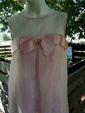 Vintage Mid Century Mod 1960s Empire Waist Dress Lace Pink Sleeveless XS Small