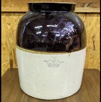 "Antique Ransbottom Blue Crown 5 Gallon Two Tone Stoneware Crock 14.5""H 12""W"