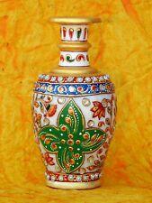 "6"" Marble Vase Flower Pot Handicraft Meenakari Stone Hand Painted Indian Art"
