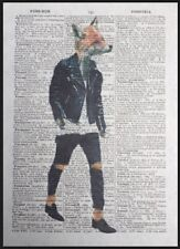 Fox Print Vintage Dictionary Page Wall Art Picture Animal In Clothes Hipster