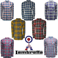 Lambretta Mens Shirts MOD Checked Pocket Collar T-Shirt Lightweight Soft UKS-3XL