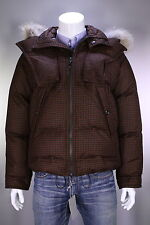 NWT New * TOM FORD * Black/Brown Check Wool Down Puffer Fur Hood Coat 38/Small
