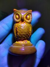 "Vintage Boyd Glass Woodsie Owl Figurine Amber Brown 2"" Tall UV Slag Effect"