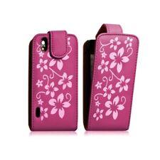 Housse coque étui fleur rose fuschia pour LG Optimus Black + film protecteur