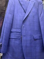 New 40R Men's SLIM Blue Vest Suit 100% Wool Super 150 Made in Italy Ret/$1295