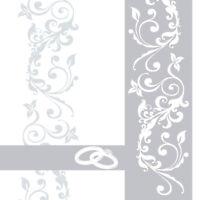 Serviette Hochzeit in Silber aus Linclass® Airlaid 40 x 40 cm, 50 Stück