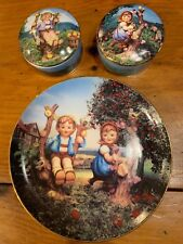 M.J. Hummel Apple Tree Boy & Girl Collector Plate & Music Boxes Derby Miny Le