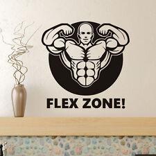 Gym Muscle Man Decal Flex Zone Vinyl Quote Art Mural Sport Wall Sticker