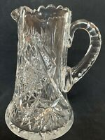 "American Brilliant Period Cut Glass Water 9""  Pitcher Vase Heavy 5lbs 6oz ABP"