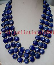 Natural New 12mm Blue Egyptian Lapis Lazuli Coin Gems Necklace Long 100''