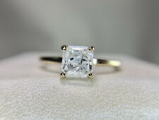 Square Radiant Cut Diamond Engagement Ring 14k White Gold Natural Rustic Style