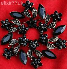 "2.56"" VERY LARGE VINTAGE BLACK RHINESTONE CRYSTAL LEAF FLOWER GARLAND BROOCH UK"