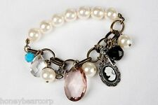 New Avon Vintage Look MIXED CHARMS Stretch BRACELET w/ Pearls & Brass Chains