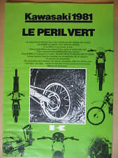 MOTO KAWASAKI  LE PERIL VERT TOUT TERRAIN 1981  DEPLIANT CATALOGUE   BROCHURE