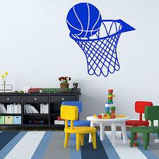 BASKETBALL AND NET HOOP vinyl wall art sticker SPORTS HALL CHILDRENS BED ETC