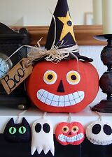 PRIMITIVE FOLK ART HALLOWEEN SEWING PATTERN 'ALL HALLOWS EVE'  PUMPKIN & ORNIES
