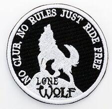 LONE WOLF BIKER PATCH (bw)