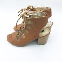 White Mountain Brown Women's Size 10 Peep Toe Block Heel Sandals