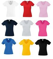 5 Pack Fruit Of The Loom Lady-Fit Valueweight V-Neck T-Shirt Womens tops Ladies