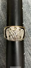 10KT Gold 32nd Degree Masonic/Shriners ring Beautiful enameling  .30 center dia.