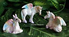 PEGASUS UNICORN SET OF 3 S4 Horse Fairy Magic Rainbow Ornament Figurine Garden