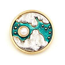 Pattern Star Moon Charm Brooch Pin Betsey Johnson Enamel Pearl Islamic Muslim