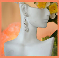 Sterling Silver Natural Moonstone Gemstone Dangle Drop Hook Earring Jewelry