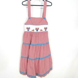 Beaux et Belles Girls Dress Smocked Sz 7 Red White Blue Beach Lobster Sleeveless