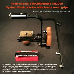 Professional STROBOFRAME SQ2000 System Flash bracket with frame wood grips / USA