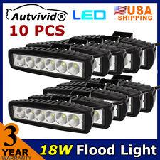 "10PCS 6"" 18W CREE LED BAR WORK LIGHT FLOOD BEAM OFFROAD DRIVING LAMP ATV UTE Fog"