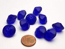 10 Stück böhmische facettierte Vaseline Glasperlen kobalt - blau