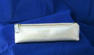 Fortnum & Mason Pencil Case Leather Zip Top Pens Brushes Accessories Gold