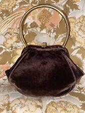 Vintage Brown Velvet Purse brass handle Original Coin purse
