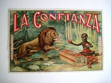 """Very Rare Crate Label for """"La Confianza"""" w/African Boy and Lion *"""