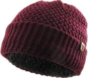 Crochet Knitted Chunky Beanie With Inner Sherpa Lining Fleece Ski Hat