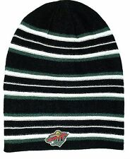 MINNESOTA WILD NHL Winter Cuffless Long Rev Stripe Knit Beanie Hat Ski Cap NWT