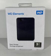 Western Digital 3TB Elements USB 3.0 External Hard Drive WDBU6Y0030BBK-WESN New!