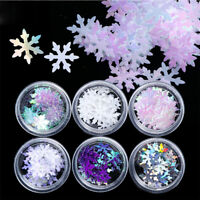 6 Boxes 3D Nail Glitter Sequins Holographic Xmas Snowflake DIY Nail Art Decor