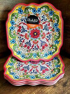 II MULINO Red Spanish Mediterranean Tile Melamine Square Dinner Plates 4pc