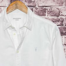 ALL SAINTS Men's Huntingdon Long Sleeve Shirt Solid White w/ Logo Sz XS