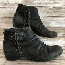 Cobb Hill By New Balance 8.5M Black Soft Leather Zip Ankle Boots Womens