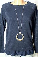 PROMOD chemise taille L, s'adapte comme S Foncé-Bleu Sweat-shirt/chemise manches longues avec paillettes