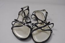 TALBOTS women's strappy sandals black patent leather 8B buckle CUTE