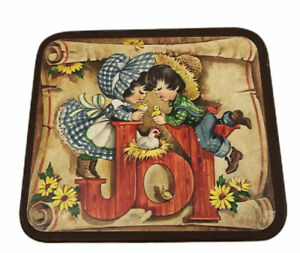 Joy Wood Wall Art Plaque Decoupage Kitsch Decor Country Farm Children