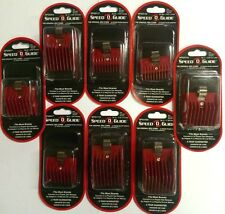 SPEED O GUIDE Set of Attachment Clipper Combs RED Set of EIGHT Combs NEW