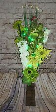 Lime green Bouquet in FREE wood vase (20 LED lights) conservatory, lounge home