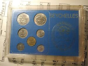 SEYCHELLES 1972 Complete 7-coin Set KM10-13; 17-19 TOP GRADE in an old case RARE
